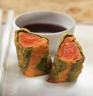 Won-ton croccante di salmone rosso con salsa Teriyake
